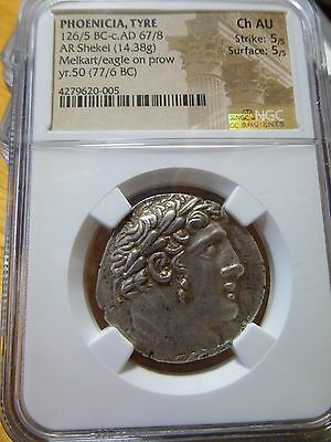 126/5 BC-c AD 67/8 PHOENICIA, TYRE AR Shekel (30 Pieces of Silver) certified AU