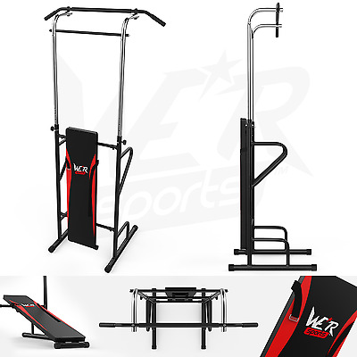 Sit Up - Pull Push Up Bar - Dip Power Tower Station Ultimate AB Builder Home Gym