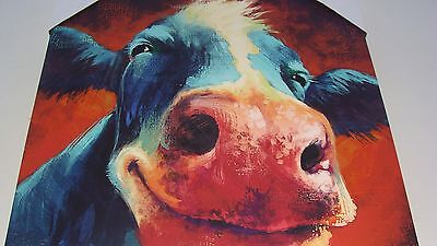 "Smiling Cow Farm Animal Canvas Painting Picture Print - 16""x20"""