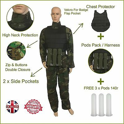 Airsoft Paintball Coverall Pod Pack Harness Chest Protector Boiler Suit Overalls