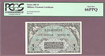 Series 481 $1 ONE DOLLAR Military Payment Certificate [MPC] PCGS 66 PPQ GEM NEW