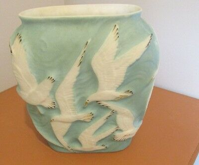 Vtg. Lg.art Deco Phoenix Glass Sculptured Artware Seagull Vase Artware Vase