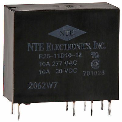 NTE Series R25 PCB Epoxy Sealed Relay DPDT 12V 10A 25.5x12.7x29mm