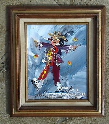 "Famous Artist Morris KATZ Clown Vintage Original Oil Painting Signed 12.5""X14.5"""