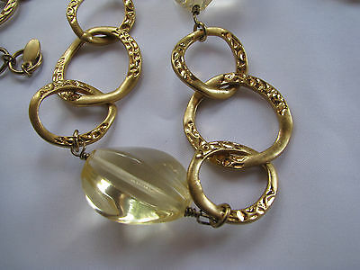 KENNETH JAY LANE Gold Tone HAMMERED LINK NECKLACE Large Lemon Yellow Beads 30""