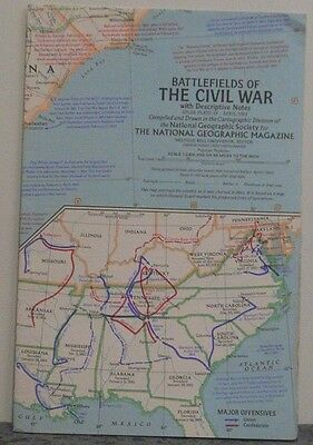 Vintage 1961 National Geographic Map of Battlefields of the Civil War