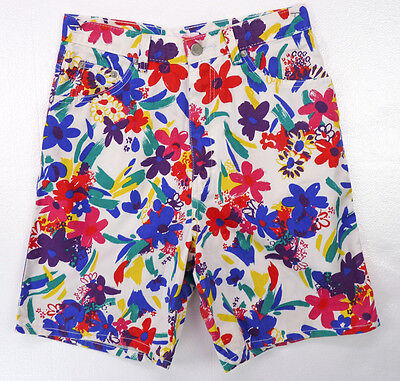 "Vintage 80s Sasson Bright Floral Print High Waist Denim Shorts 7/M 28"" Waist"