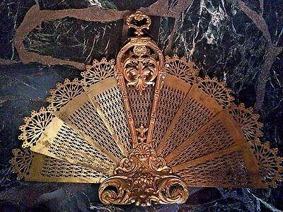 "Striking-ANTIQUE FRENCH GILT BRONZE BRASS 36"" FOLDING FAN FIRE SCREEN-Peacock"