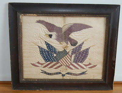 Antique 19th Century Embroidered US FLAG AMERICAN EAGLE E Pluribus Unum SILK