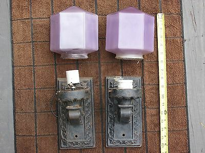 Vintage Iron & Purple Glass Light Fixtures Sconces Antique Original