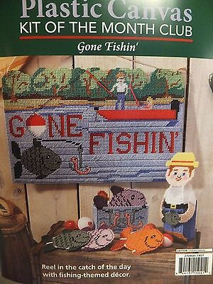 "BRAND NEW ""Gone Fishing"" Herrschners Plastic Canvas KIT (7 Count)"