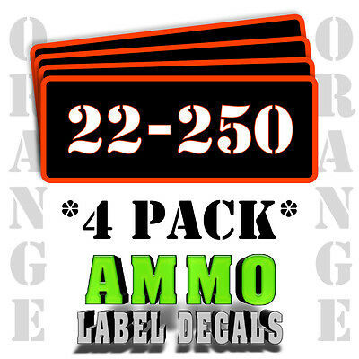 """22-250 Ammo Label Decals for Ammunition Case 3"""" x 1"""" Can stickers 4 PACK -OR"""