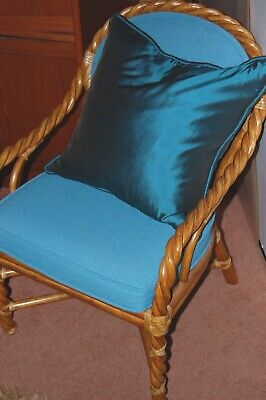 Vintage MCGUIRE Braided Rattan Dining chairs (4) Original! and table base GREAT