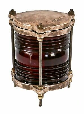 Refinished 1930's Cast Bronze Crouse-Hinds Bridge Warning Light W Ruby Red Glass
