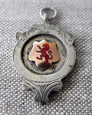Antique Scottish Sterling Silver Rose Gold Enamel Rampant Lion Fob Medal 1922
