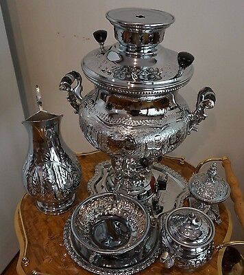 Decorative Samovar 6 Pieces Tea Set – Silver- Gas- Tea Pot, Tray, Jar, Bowl,...