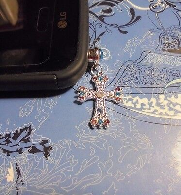 Rhinestone Cross Cell Phone Charm~Dust Plug Cover~Iphone-Smartphone 3.5mm
