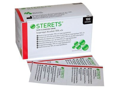 STERETS Skin Cleansing Isopropyl Alcohol 70% Swabs**Free Post**