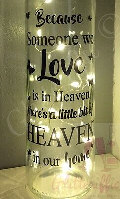 Vinyl quote phrase Because someone we love heaven sticker glass light block 16cm