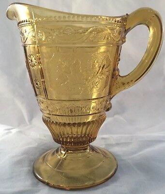 Willow Oak Creamer Amber Pattern Glass Bryce Bros 1880s Table Pitcher Milk