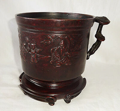 18/19C Chinese Bronze Scholar Motif Brush Pot w. Lingzhi Handle & Stand (808)