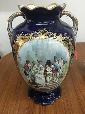 ANTIQUE 19th CENTURY COBALT BLUE & GOLD PORTRAIT VASE...STAMPED & NUMBERED