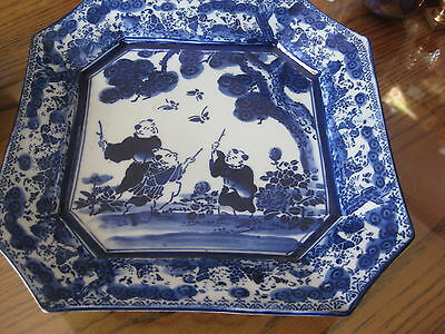 "Plate Rare Antique Chinese  Porcelain Square Dish  Flow Blue Maybe 10 "" Signed"
