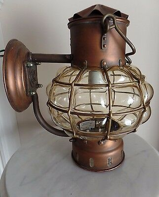 Vintage DHR Holland Nautical Anchor Brass and Copper Wall  cage blown light