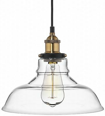 Deneve Clear Glass Shade Pendant Light Brass Ceiling Fixture No Sales Tax, New