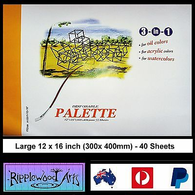Large Disposable Palette - 40 Sheets - 12 x 16 inches (300 x 400 mm)