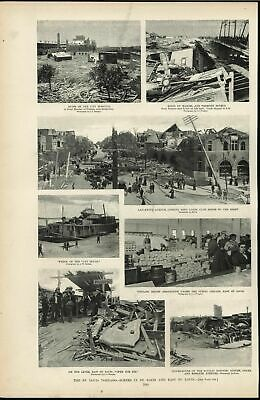 St Louis Tornado Widespread Destruction Disaster 1896 antique Harpers print