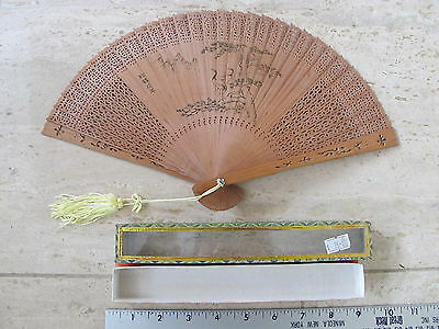 Vintage Chinese Ladies Pierced Wood Folding Hand Fan with Original Box
