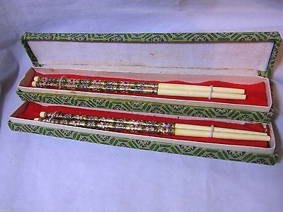 2 PAIRS OF Cloisonne & Bone Chopsticks in 2 Cloth Covered Boxes,Flower Pattern