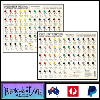 Holbein Artists' Watercolors - Trial Sheet #1 and #2 (Sold as a pair)