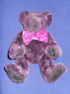 """Vermont Teddy Bear Purple Plum Hinged Jointed Bow 1997 16"""" Plush"""