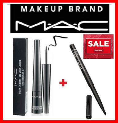 Mac  Black Liquid Eyeliner  2.5ml with box + FOR FREE BLACK EYELINER PENCIL