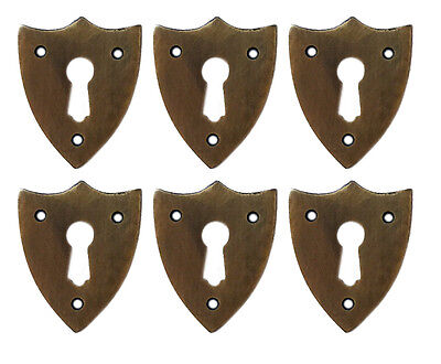 Solid Brass Sheild Style Keyhole Escutcheons Set of 6 Jewelry Component