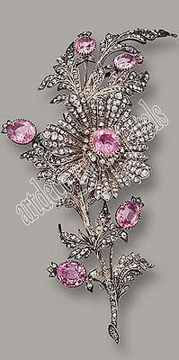 5.90cts ROSE CUT ROUND DIAMOND TOURMALINE .925 STERLING SILVER BROOCH PIN