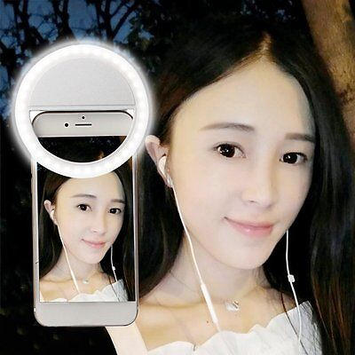 White Rechargeable Selfie LED Ring Camera Fill Light for iPhone for Android AP