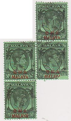 (MS-149) 1945 Malaya BMA O/P 50c green &red KGV 4block (D)