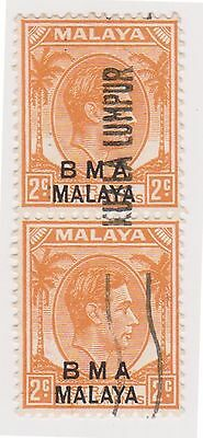 (MS-99) 1945 Malaya BMA O/P 2c orange black pair (I)