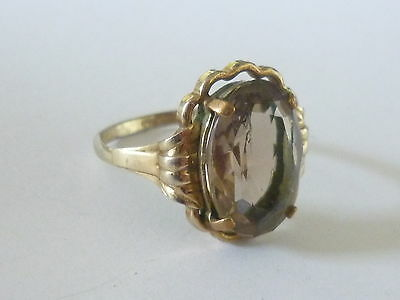 Alter Ring mit Rauchtopas Gold Double