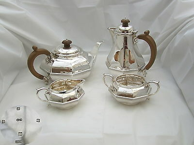 Rare George V Hm Sterling Silver 4 Piece Tea Set 1934