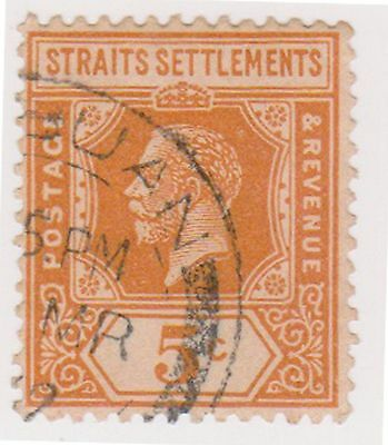 (MS-34) 1912 Straits settlements 5c orange KGV (A)