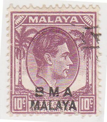 (MS-129) 1945 Malaya BMA O/P 10c purple/brown & black KGV (D)