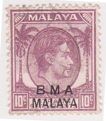 (MS-128) 1945 Malaya BMA O/P 10c purple/brown & black KGV (C)