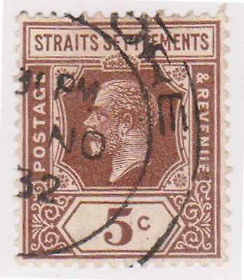 (MS-38) 1919 Straits settlements 5c brown KGV (B)