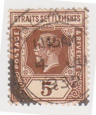 (MS-39) 1919 Straits settlements 5c brown KGV (C)
