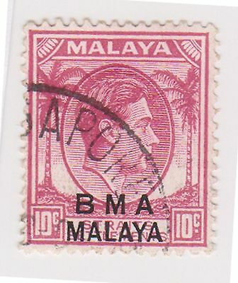 (MS-121) 1945 Malaya BMA O/P 10c red& black KGV (I)