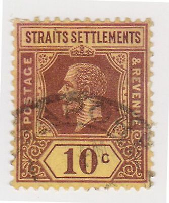 (MS-44) 1912 Straits settlements 10c purple& yellow KGV (A)